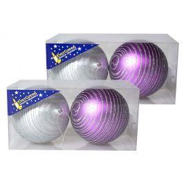 Vánoční koule EverGreen s glitter proužky 2x 2 ks