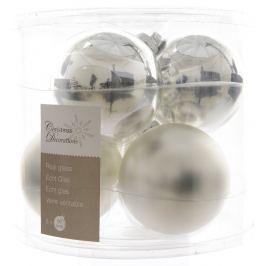 KAEMINGK Vánoční ozdoby koule 6 ks, stříbrná