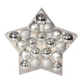 EVERGREEN Sada koulí Star stříbrná