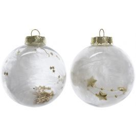 KAEMINGK Vánoční ozdoby koule bílo-zlaté, 3 ks