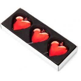 Závěsná ozdoba Decorium srdce, červené, 3ks Doplňky a dekorace