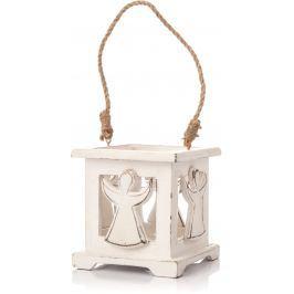 Dřevěná lucerna Decorium s andělem, 9 cm, bílá Doplňky a dekorace