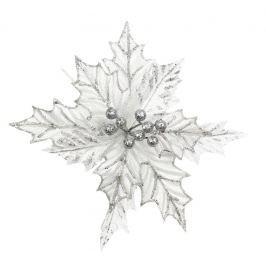 Dekorační květ Seizis se třpytem, stříbrný, 23cm