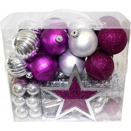 SEIZIS Set ozdob stříbrné a fialové 50 ks Doplňky a dekorace