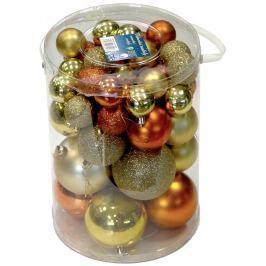 Vánoční koule Seizis, 50ks, zlatá/měděná