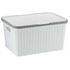 KELA Úložný box s víkem Rio 25 l bílá Úložné boxy