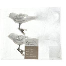 KAEMINGK Dekor. ozdoby ptáčci, bílá 2 ks