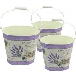 NOHEL-GARDEN Set oválných kbelíků Levandule 3 ks