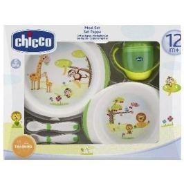 Dětský jídelní set Chicco, 12m+ (miska, talíř, příbor, hrneček)