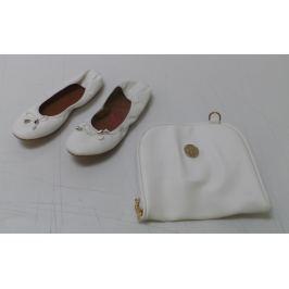 Dámské balerínky a taška Rollbab, bílé