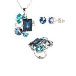 Set šperků Destellos, náhrdelník, náušnice a prsten 1970286, modrý
