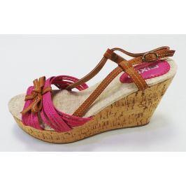 Dámské sandálky Mixer na klínku, růžovo-hnědé