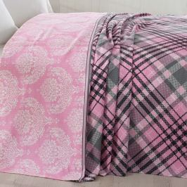 Prošívaný lehký přehoz s povlaky na polštáře Karya Pink, 200 x 220 cm