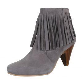 Dámské kotníčkové boty Dinago, s třásněmi, šedé