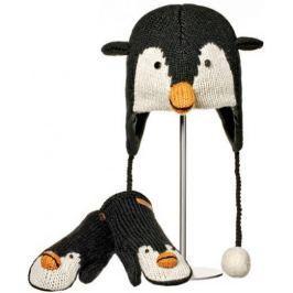 Dětský set Knitwits čepice a rukavic Tučňák, černo/bílý