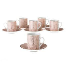 Sada 6 růžových porcelánových hrnečků s podšálky Unimasa Art, 100 ml