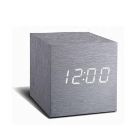 Gingko Šedý budík s bílým LED displejem Gingko Cube Click Clock