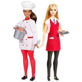 Panenka Barbie Mattel s kamarádkou, šéfkuchařka a číšnice