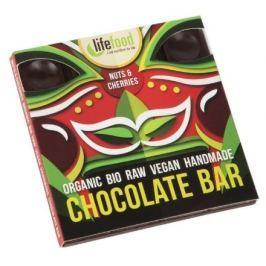 Raw čokoláda z nepraženého kakaa BIO s kousky ořechů a třešní 35g