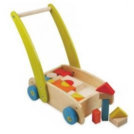 Dřevěný vozík s kostkami Baby Mix
