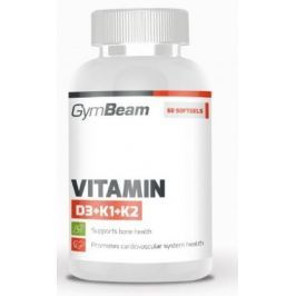 GymBeam Vitamin D3+K1+K2 unflavored - 120 kaps