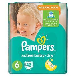 Pampers Active Baby Maxi Pack pleny 6 Extra Large, 15+ kg 42 ks