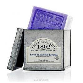Le Chatelard Luxusní tuhé mýdlo s vůní levandule v zinkové krabičce  300 g