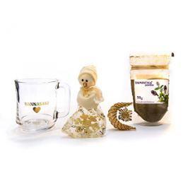 Vánoční balíček bylinná čajová směs TAIMINTTEA 50 g a hrníček Hannasaki