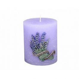 Dekorativní svíčka LAWENDA zdobená vyřezávaná d8x8 cm