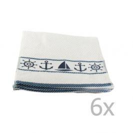Sada 6 bílo-modrých ručníků Marina, 30x50cm