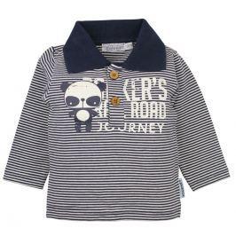 Dirkje Chlapecké tričko s límečkem Panda - modro-bílé