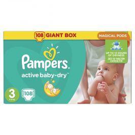 Pampers Active Baby-dry 3 Midi, 108 ks (4-9 kg) - jednorázové pleny
