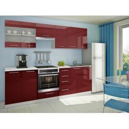 Mondeo - Kuchyňský blok E, 260 cm (červená, lesk)