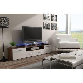 Evora - TV stolek (švestka/bílá lesk)