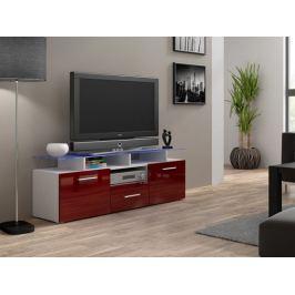 Evora mini - TV stolek (bílá/bordo lesk)