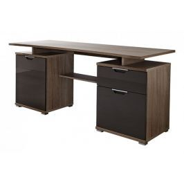 Office - stůl (dub tmavý / grafit)