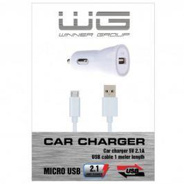 Autonabíječka colour USB (2,1A)+dat. kabl micr-USB/bílá