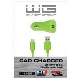 Autonabíječka colour USB (2,1A)+dat. kabl micr-USB/zelená