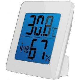 Solight teploměr, vlhkost, budík, LCD, bílý rámeček, TE13W