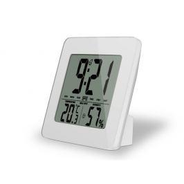 Solight teploměr, vlhkost, budík, LCD, bílý rámeček, TE12W