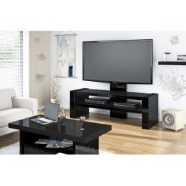 Davos - TV stolek s držákem (černá vysoký lesk)