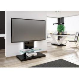 Marino max - TV stolek s držákem (černá vysoký lesk/sklo mléčné)