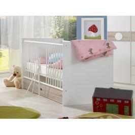 Kimba - Dětská postýlka s úložným prostorem (bílá, dub)