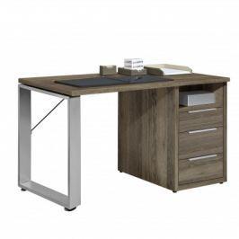 Work - Stůl, 3x zásuvka, 140x74x70 (dub tmavý)