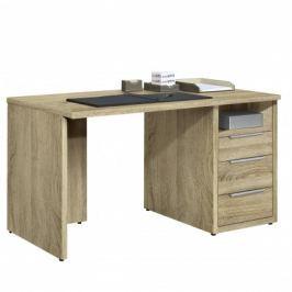 Work - Stůl, 3x zásuvka, 120x74x70 (dub)