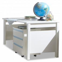 Bibi - Pracovní stůl, s mobilním regálem (alpská bílá, modrá)