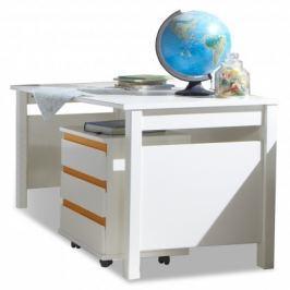 Bibi - Pracovní stůl, s mobilním regálem (alpská bílá, oranžová)