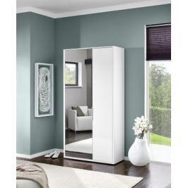 Rhein - Skříň se zrcadlem, 2x dveře (bílá vysoký lesk) Předsíňové skříně