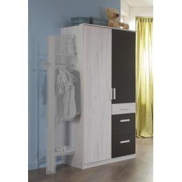 Cariba - Skříň dvoudveřová se zásuvkou (bílá dub, černá láva) Dětské skříně