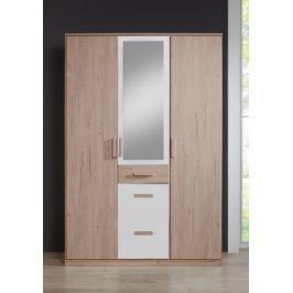 Cariba - Skříň třídveřová se zrcadlem (san remo dub, bílá) Dětské skříně